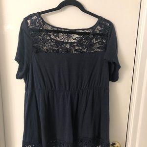 Torrid size 2 navy blue floral lace top